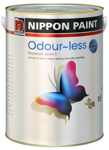 Odour-less Premium all-in-1 interior wall paint.